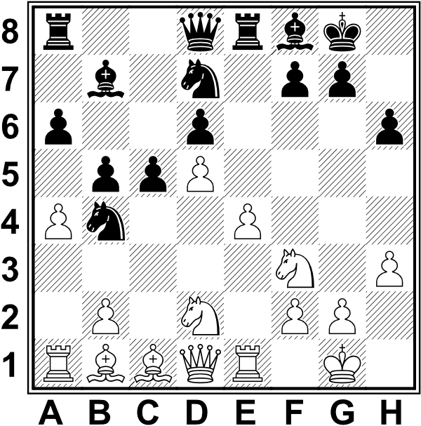 Białe: Kg1, Hd1, Wa1, We1, Gb1, Bc1, Sd2, Sf3, a4, b2, d5, e4, f2, g2, h3. Czarne: Kg8, Hd8, Wa8, We8, Gb7, Gf8, Sb4, Sd7, a6, b5, c5, d6, f7, g7, h6