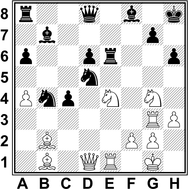Białe: Kg1, Hd1, We1, Wg3, Gb1, Gb2, Se4, Sg4, a4, f2, g2, h3. Czarne: Kh8, Hd8, Wa8, We6, Gb7, Gf8, Sb4, Sd5, a6, c4, d6, g7, h6